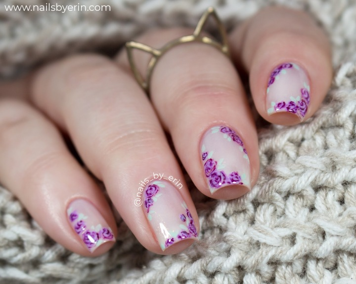 Sheer White and Purple FloralNails