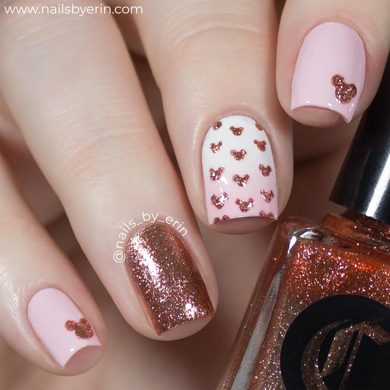 Rose Gold Minnie Mouse Nails Disney Nail Art Nailsbyerin