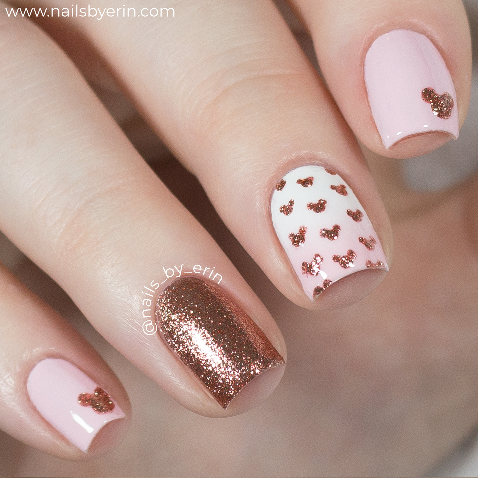 Rose Gold Minnie Mouse Nails