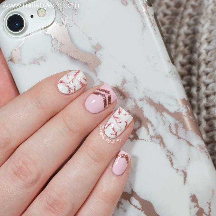 Rose Gold Marble Nails |NailsByErin