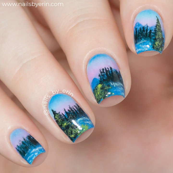 I Followed a Bob Ross Tutorial on My Nails!