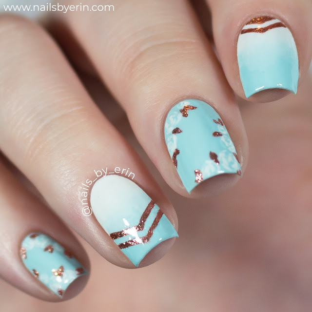 Mint and Rose Gold Floral Nails | NailsByErin