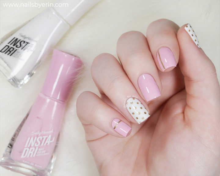 Pink and Gold Polka Dot Nails
