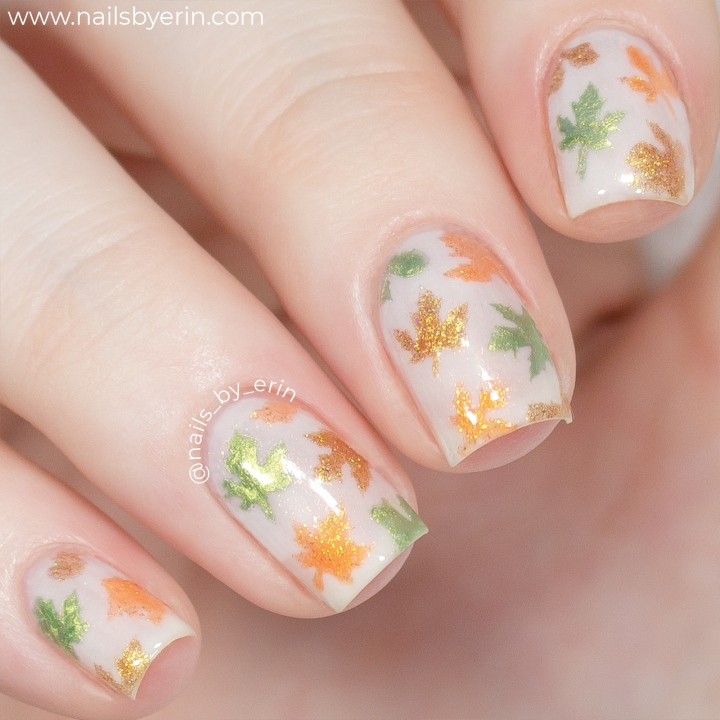 Fall Leaves Nails using Whats Up Nails Stencils